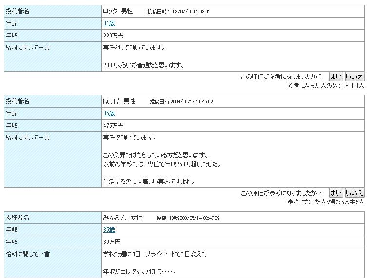 日本語講師の収入